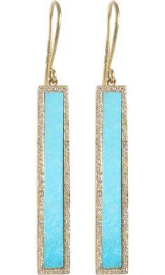 Turquoise & Diamond Bar Earrings  - Jennifer Meyer ( Earrings Dangle Blue Gold - yellow Hook / wire back Rectangular shape Gold - color Turquoise Diamond)