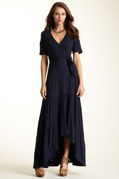 Loveappella Hi-Lo Tiered Maxi Dress