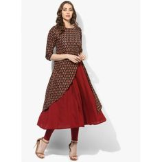 7974cd46c17 Buy Sangria Round Neck 3 4Th Sleeves Double Layer Tunic With Sequence And  Thread Detailing online