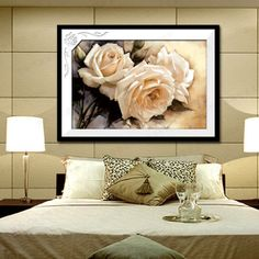 Print 3d Cross Stitch Kit White Rose Flowers 11CT Plants Series Needlework Sewing Set New Arrival High Quality Free Shipping