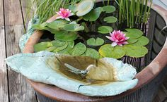Concrete Leaf Pond Spitter