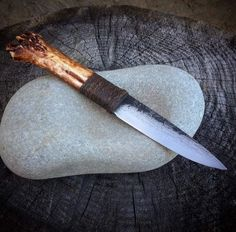 Soon to be up for purchase. Forging Knives, Forged Knife, Bushcraft Knives, Cool Knives, Knives And Swords, Knife Drawing, Bone Crafts, Knife Art, Knife Handles