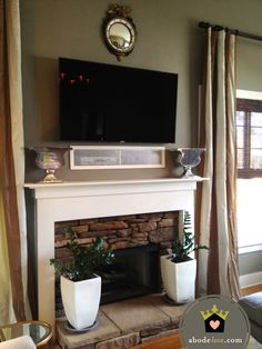 tv over fireplace hidden components - Yahoo Image Search Results Above Fireplace Ideas, Tv Over Fireplace, Fireplace Mantels, Fireplaces, Tv Mantle, Basement Fireplace, Small Fireplace, Faux Fireplace, Fireplace Remodel
