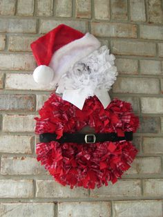Santa Rag Wreath Featuring Vintage Hammered Buckle