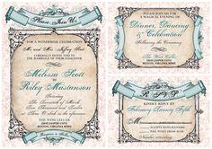 Vintage, Baroque Banners Wedding Invitation Suite. $2.75, via Etsy.