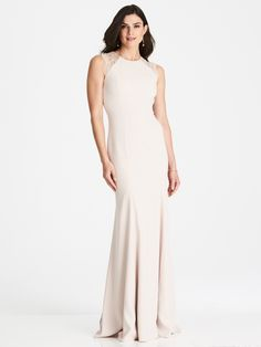 3015 by The Dessy Group. Available in sizes in store now. Visit our website to make an appointment. Deb Dresses, Bridesmaid Dresses Plus Size, Wedding Bridesmaid Dresses, Bridal Dresses, Formal Dresses, Bridesmaids, Trumpet Skirt, Crepe Dress, Occasion Wear