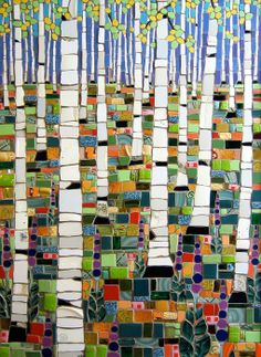 "Michael Sweere Mosaic Company ""Birches and Lupines"" Glass, stone and ceramic tile mosaic x Mosaic Crafts, Mosaic Projects, Mosaic Art, Mosaic Glass, Mosaic Tiles, Glass Art, Art Projects, Stained Glass, Tiling"
