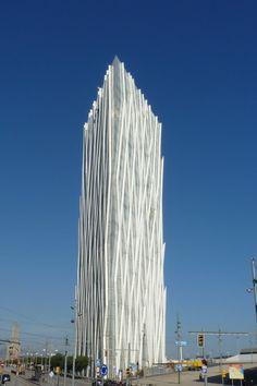 Telefonica Tower (a Modern Flatiron Skyscraper Building) in Barcelona