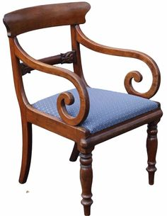antique georgian style mahogany and cane armchair with circular