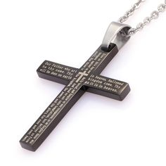 """Unistyle Mens Lords Prayer Cross Pendant Necklace, Black Stainless Steel with 18.5"""" Chain http://www.amazon.com/dp/B00UAJ2TFK/"""