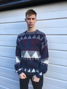 Men's vintage jumper 80s jumper Aztec pattern patterned Pullover sweat sweater top white blue burgundy