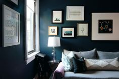 Gentleman's Gray by Benjamin Moore. A jewel-tone gray that leans blue.