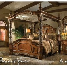 "AICO Villa Valencia King Size Poster Canopy Bed.  The look and feel of Old World Spain have been beautifully captured in this grand collection, designed exclusively for the Michael Amini Original Furniture Designs.  The distinctive marquetry and intricate embellishments compliment a classic chestnut finish.   Villa Valencia draws its inspirations from the city of Valencia, in Spain. The name comes from the Latin name Valentia, which means ""strength,"" and ""vigor."""