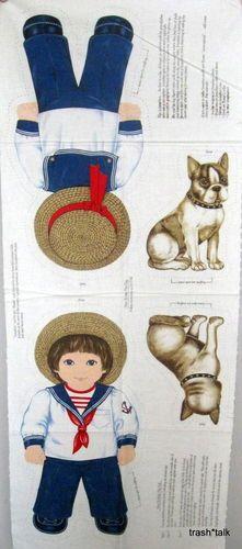 Cranston Fabric Panel Sailor Boy Dog Doll Pillow Jonathan Buster Boston Terrier | eBay