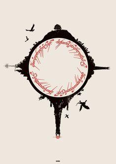 black speech, circled in clockwise by: The Shire, Isengarrd, Barad Dur, Lothlorrien. By Matt Ferguson