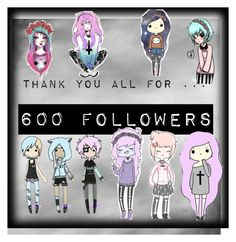 """""""600 followers !!!"""" by xcreepygirlx ❤ liked on Polyvore featuring art"""