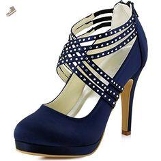 ElegantPark EP11085-PF Women Closed Toe Platform Pumps Strappy Satin  Evening Wedding Dress Shoes Navy f5ee39aada41