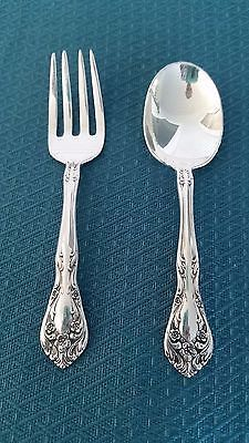 Chateau Rose Sterling Silver Baby Child Spoon & Fork Set by Alvin