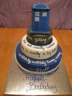 I was asked to do a Tardis cake. First, what's a Tardis? Oh, it's from Dr. Who. Still had no idea. So I did some research. A tall square cake. Easy ...