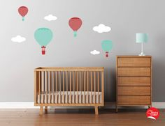 Items similar to Hot Air Balloons Wall Decals Large Chevron Pattern Nursery Decal Set Clouds on Etsy Baby Nursery Diy, Nursery Wall Decals, Baby Room, Diy Baby, Balloon Wall, Balloons, Air Balloon, Nursery Ideas Neutral Small, Contemporary Nursery Decor