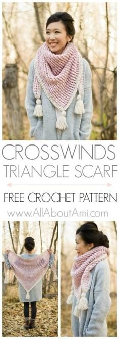 Crosswinds Triangle Scarf 2019 Crochet this statement triangle scarf with gorgeous texture decorative edging and luxurious tassels! Free pattern tutorial and video available! The post Crosswinds Triangle Scarf 2019 appeared first on Scarves Diy. Crochet Triangle Scarf, Crochet Poncho, Crochet Scarves, Crochet Clothes, Crochet Stitches, Crochet Vests, Crochet Edgings, Knitted Shawls, Crochet Motif