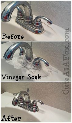Paper towels wet with vinegar layed around faucets and left to break down calcium and minerals.   My mother always used vinegar in her cleaning routine. I've beendoing this for years. lCute As a Fox: PInterest Cleaning Tips Tested