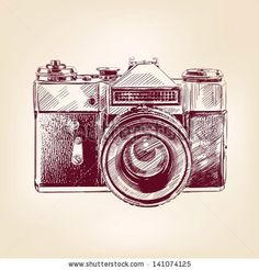 vintage old photo camera drawn vector llustration by VladisChern, via Shutterstock