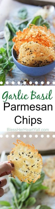 Garlic basil parmesan crisps are an easy 3 ingredient baked recipe! These crispy cheesy dippers are the perfect appetizer or snack for any gluten-free or low carb eaters and are huge hits at parties! All you need is parmesan, basil, garlic powder and 5 mi Parmesan Chips, Garlic Parmesan, Parmesan Cheese Crisps, Garlic Cheese, Baked Garlic, Keto Snacks, Healthy Snacks, Healthy Recipes, Vegetarian Recipes