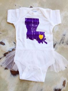 Fleurty Girl - Everything New Orleans - Louisiana Love Onesie, Purple and Gold on White - Kids & Baby Clothes - Shirts
