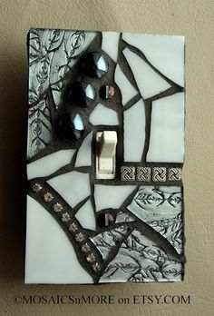 Silver and Shiny Mosaic Light Switch Cover Wall by MOSAICSnMORE