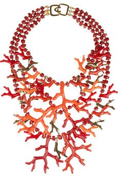 Coral resin necklace