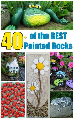 Over 40 of the BEST Rock Painting Ideas including animals wall hangings food garden markers decor and amazing stone art! Rock Painting Patterns, Rock Painting Ideas Easy, Rock Painting Designs, Painting For Kids, Painting Animals On Rocks, Painting Tutorials, Art Tutorials, Painted Rock Cactus, Painted Rocks Kids