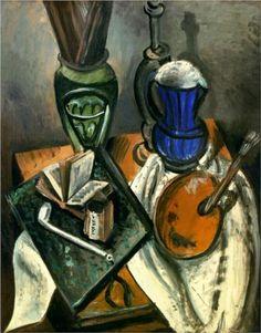 Still life - Andre Derain 1914  Fauvism http://www.wikipaintings.org/en/andre-derain/still-life-1914