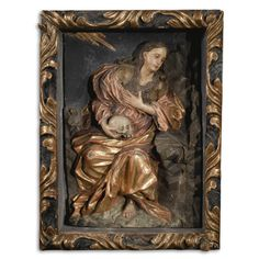 A SPANISH GILT AND PAINTED WOOD RELIEF OF MARY MAGDALENE, 17TH CENTURY in later baroque style box frame overall height 20 3/8 in., width 15 1/2 in.; 51.7 cm, 39.2 cm Sotheby's