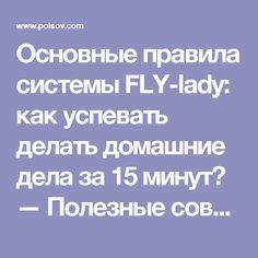 Основные правила системы FLY-lady: как успевать делать домашние дела за 15 минут? — Полезные советы