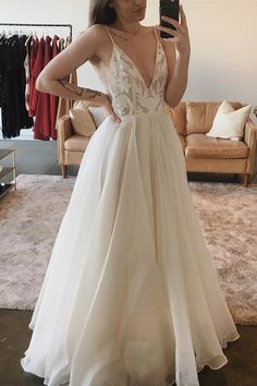 simple ivory v neck wedding dresses, modest lace top bridal gowns, unique chiffon long beach wedding dresses