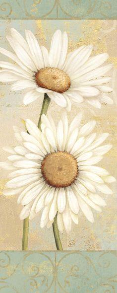 Beautiful Daisies I by Daphne Brissonnet Floral Still Life Art Print- 8x20