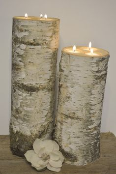 Birch Extra Tall Large 3-hole Candle Holders - Set of 2 - Wedding Centerpieces, Rustic Wedding Decor on Etsy, $46.95