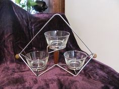Libbeys Chrome and Wood Server with 3 Glass Cups-Atomic, Eames Era
