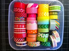 """Cheap, Easy, and Practical Washi Tape Storage"" from ScrapbookObsessionBlog.com Washi Tape Storage, Project Life, Nespresso, Coffee Maker, Organization, Easy, Projects, Coffee Maker Machine, Getting Organized"