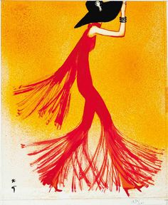Illustration by René Gruau, 1970, Lady in red, Ink and gouache on paper.