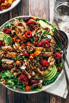 Harvest Chicken Salad – Paleo Gluten Free Eats harvest chicken salad with roasted rosemary sweet potatoes, avocado, nuts and berries, and homemade balsamic dressing. My favorite salad I eat on repeat! A healthy family dinner for paleo meal prep. Paleo Whole 30, Whole 30 Recipes, Whole 30 Vegetarian, Whole Foods, Whole Food Diet, Vegetarian Paleo, Paleo Recipes, Real Food Recipes, Chicken Recipes