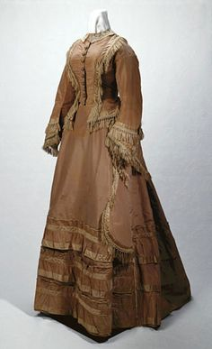 Three-piece brown silk taffeta wedding gown, 1873  Worn by Eliza Jane Steel De Mier