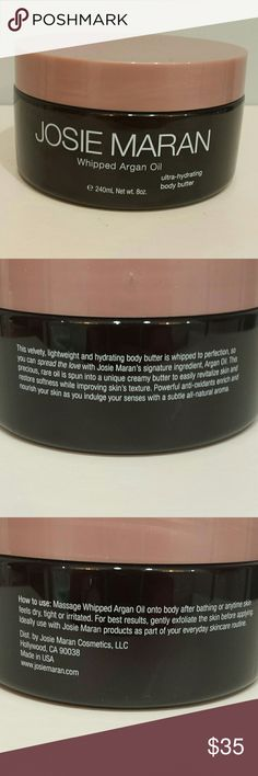 Josie Maran Whipped Argan Oil This is unscented.  Size is 8 oz. Container has never been opened.   No trades.  Please submit any offers through the offer option. Sephora Makeup