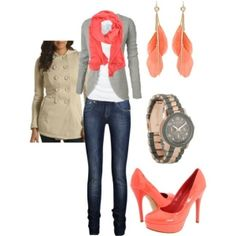 Coral accent outfit, except not skinny jeans or heais Vday outfit, red scarf