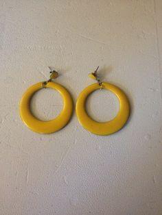 1980's Yellow Hoop Earrings by BestMomentsnMemories on Etsy