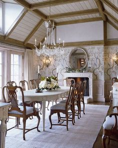 Aspen Home by David Easton 4 Fine Dining, Dining Table, Dining Area, Interior Exterior, Interior Design, Aspen House, Classy Living Room, Shabby, Beautiful Dining Rooms