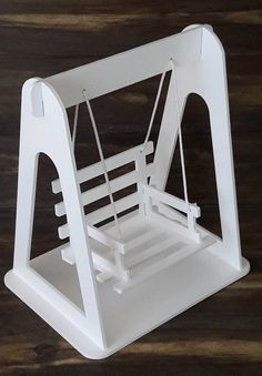 This swing is made of natural wood, cute rope detail and glued-on seat cushion. Baby Furniture, Doll Furniture, Woodworking Projects Diy, Wood Projects, Wood Crafts, Diy And Crafts, Baby Swings, Barbie House, Wood Toys