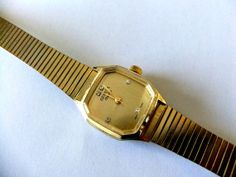 Geneva Electra Gold Plated and Diamond Manual Watch by ediesbest, $16.95