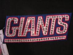 NY GIANTS LOGO Pin-Football Fan Brooch-Swarovski Crystals-Hand Embroidered by Loveywear on Etsy